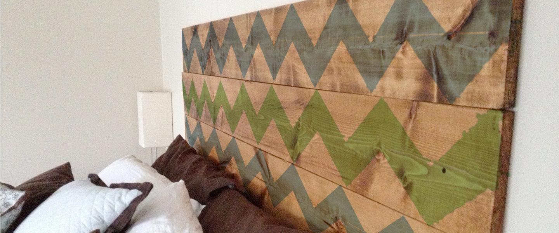 Decoración geométrica de muebles de madera